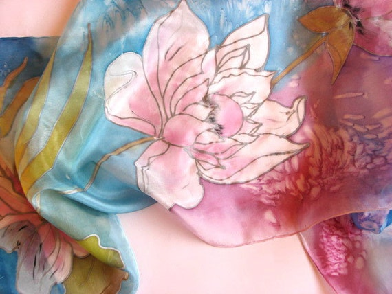 Painted  Pink Lotus Silk Scarf,  Blue Silk Scarf with Pink Lotus, Long Luxury Silk Scarf, Women Silk Accessory, Summer Silk Scarf