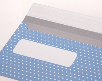 dotted envelopes, beautiful envelopes, envelopes wedding, light blue, white envelope points, envelopes, envelopes, points, DinLang, 10 St
