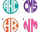 Monogram Sticker - Monogram Vinyl Decal - Vinyl Personalized Monogram Decal Stickers - Circle Monogram - CHOOSE SIZE