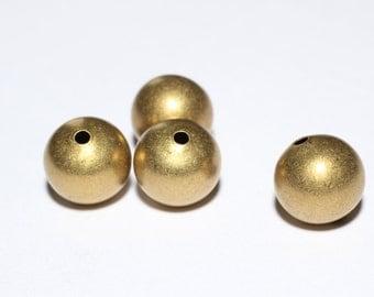 10 Pcs Raw Brass Ball (12,14mm) - Hollow Brass Ball - Raw Brass Beads , BDS