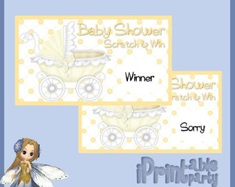 Baby Shower Printable Game Yellow Carriage Scratch Cards