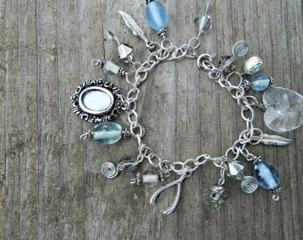 Blue and Silver Charm Bracelet with Wishbone, Frame, Feather and other Charms