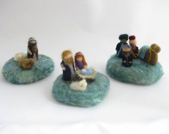 Mini Christmas nativity set; full set with three seperate scenes; needle felted wool, Waldorf inspired miniatures, desk decoration