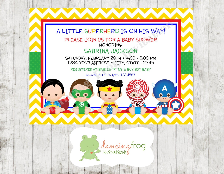 superhero baby shower invitation custom by dancingfroginvites