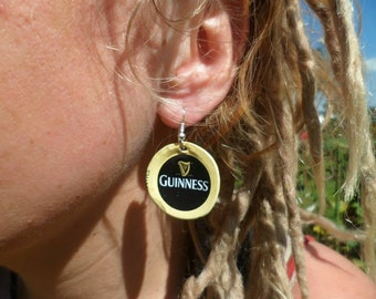 Upcycled Guiness Bottle Cap Earrings