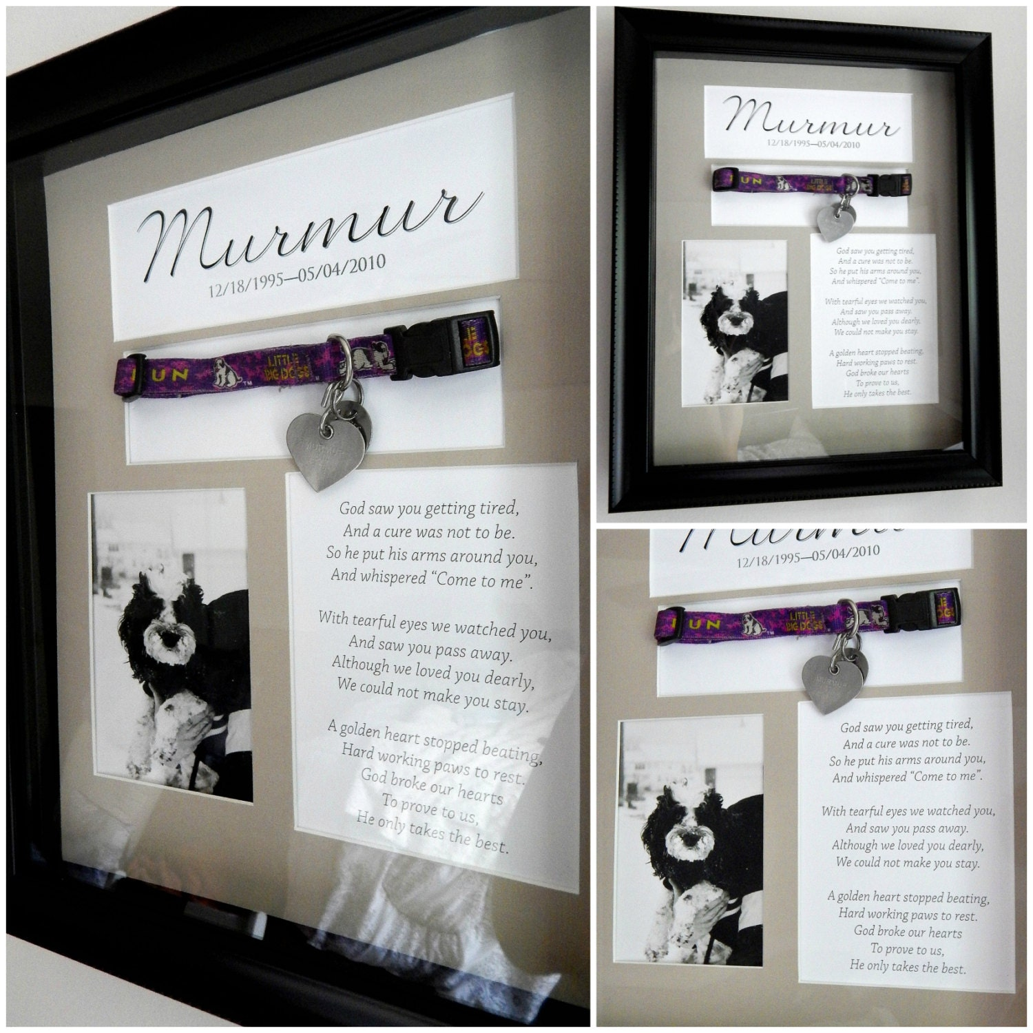 pet memorial shadow box with collar customization available