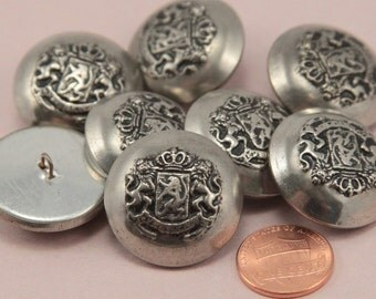"""Lot of 8 Large Silver Tone Shank Metal Buttons Black Accent Hollow Heraldic 1 1/16"""" 27mm (#6326)"""