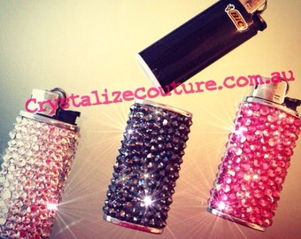 Bling bic lighter case embellished in Swarovski crystals, abailable in many colour choices