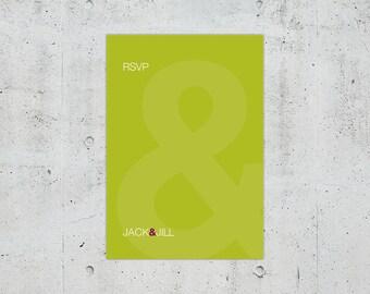 Simple Minimal Modern Helvetica Typographic Wedding RSVP Card | Printable DIY | Color Customizable