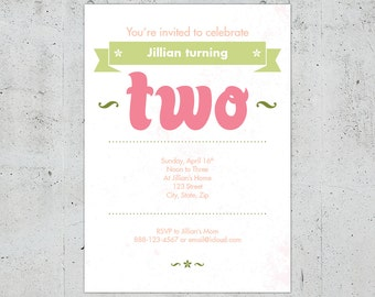 2nd Birthday Invitation for Boy or Girl | Printable DIY | Color Customizable