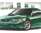 2001 Ford Mustang Bullitt 12x24 inch Art Print by Jim Gerdom