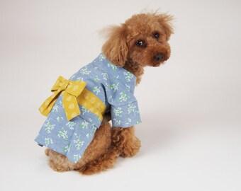 Dog Clothes Floral pattern Japanese Kimono Light BLUE x YELLOW belt, pet clothing dog clothing pet clothes dog apparel