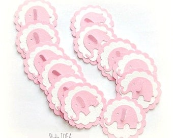 24 Pink Elephant  Scallop Tags or Choose Your Colors -Gift Tags, Favor Tags, Label -Set of 24 pcs