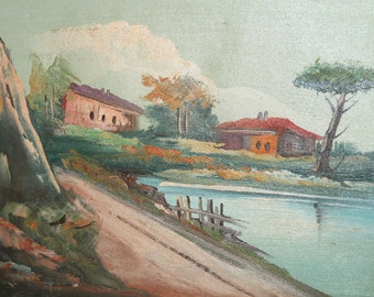 Vintage European art landcsape lake oil painting