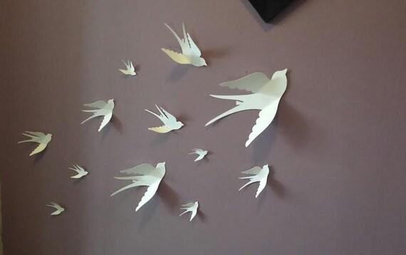papier mural 3d oiseau oiseaux de papier 3d wall art. Black Bedroom Furniture Sets. Home Design Ideas