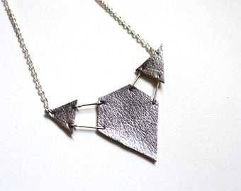 Necklace geometric statement silver