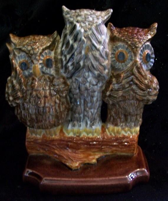 Ceramic Owl Trio Hear See Speak No Evil By Studiogardner
