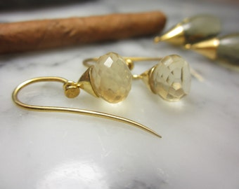 Earrings Mix &Match Hooks Lemonquartz  Briolett Drops Beads Gold Citrin