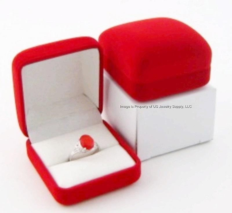 1 red velvet ring jewelry display gift box for Red velvet jewelry gift boxes