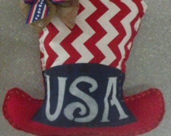 Patriotic, Fourth of July, Everyday,  Red, White, and Blue, Uncle Sam Hat, Hand Sewn, Door Hanger