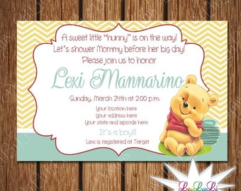 Perfect Winnie The Pooh Baby Shower Invitation