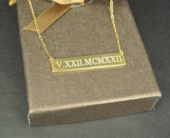 Gold Horizontal Bar Necklace Wedding Date Necklace Roman