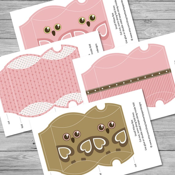 Small baby pink printable pillow box templates for Owl pillow box template
