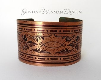 Copper Cuff Etched w/ Fish Motif, Bright, Christian Symbol, Flora, Unisex Bracelet, Pagan