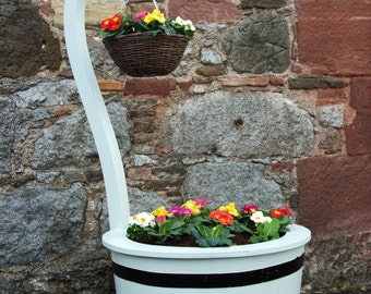 Hanging Basket with Swan Neck on Coopered Oak Barrel from Carrick Cooperage