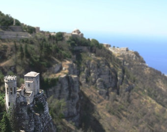 Travel Photography - Dreamy Hilltop Castle in Sicily Photo, 24x36 20x30 16x20 8x10 5x7 fine art wall decor, wall art italy photo