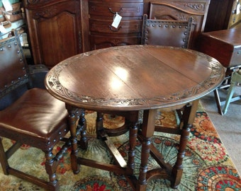 SOLD - Antique Furniture- RARE English ANTIQUE Carved Drop Leaf Table