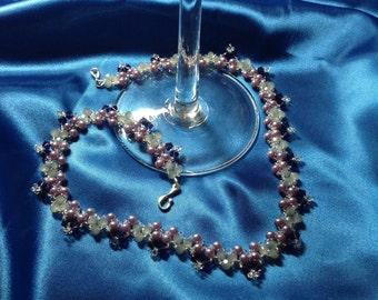 Garden Necklace #1 - Beaded necklace in deep purple Swarovski crystals and lavender pearls