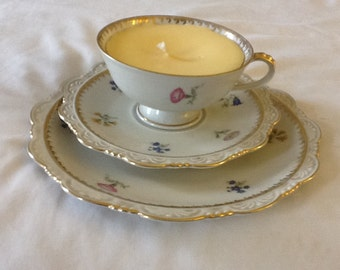Bavaria Wunsiedel set of plate, cup with candle and saucer with pretty pink, yellow and blue flowers