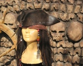 Jack sparrow Leather Tricorn Tricorner Pirate hat Milliner made