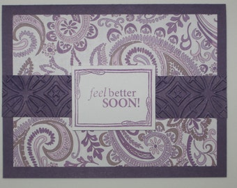 Purple get well card Get well card Feel better card Get well greeting Ladies' get well Women's get well Feminine get well Praying for you ca
