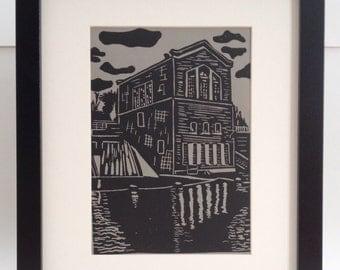 "River Dam Station handmade linocut print 5x7"", unframed (gravel gray) - printmaking, home decor, wall art, birthday gift, made in Michigan"