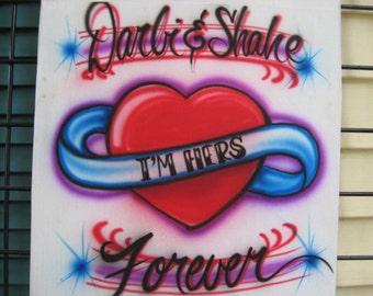 Custom Airbrush Couples T Shirt, free hand, not a stencil. Couples Design, Airbrush Couple shirt, gift ideas