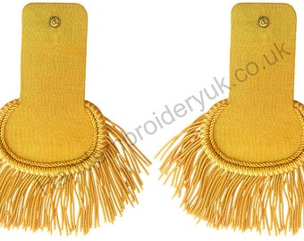 Gold Bullion Shoulder Epaulettes with Fringe Marching Band Epaulette
