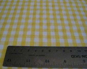Yellow Gingham Polycotton Fabric