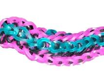 Rainbow Loom Twisty Wristy Bracelet Black, Pink Jelly and Aqua Jelly Bands
