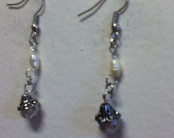 Designed for a Royal Princess........ Anastasia Romanov's Earrings - Champagne Crystals, Freshwater Pearls, Silvertone Filagree