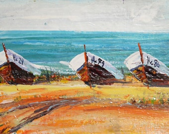 Vintage landscape seascape boats oil painting