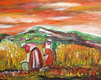Contemporary oil painting harvesting signed
