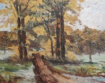 Vintage impressionist landscape oil painting