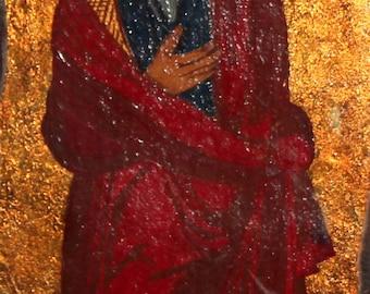 Orthodox Christian saint vintage hand painted icon