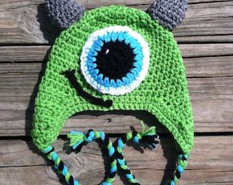 Mike crochet hat, monsters inc crochet hat, monsters university crochet hat