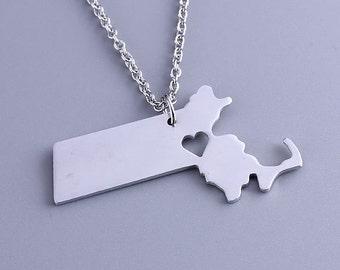 I heart Massachusetts Necklace - Massachusetts Pendant - State Charm - Map necklace - Map Jewelry