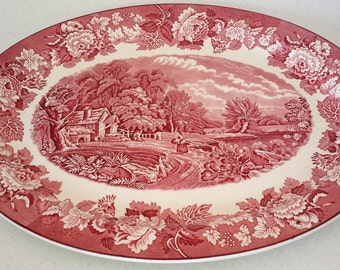 Enoch Wood's Oval Serving Platter . Wood & Sons England English Scenery Pink 16in Very Beautiful  HOME DECOR