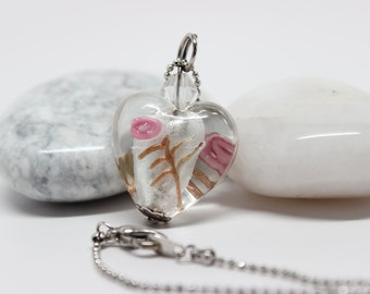 Heart necklace, glass necklace, flower necklace