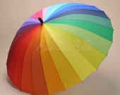 Rainbow Waterproof Rain Umbrella, Colorful Wedding Bridal Umbrella Parasol, Sun Umbrella, Colorful Photo Props Umbrella, Party Decor GYS-2